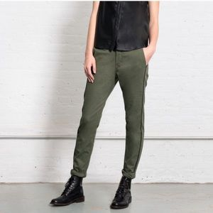 Rag & Bone Ollie Pant Army Green Leather Piping 26
